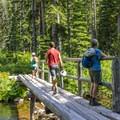 Stream crossings made easy.- Two Medicine Lake Loop Hike