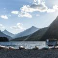 Two Medicine Lake boat dock.- Two Medicine Lake Loop Hike