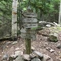 The first trail junction after a short stretch of flat walking.- Cadillac and Dorr Mountain via the Gorge Path
