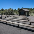 An amphitheater provides an area for night programs.- Indian Well Campground