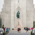 The viking statue in front of the church.- Hallgrímskirkja Church