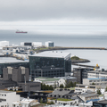 Harpa Concert Hall to the northwest.- Hallgrímskirkja Church