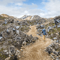 Stepping into Laugahraun.- Laugavegur Hiking Trail