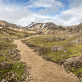 Walking through Laugahraun.- Laugavegur Hiking Trail