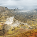 The steaming base of Brennisteinsalda.- Laugavegur Hiking Trail