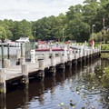 The marina/boat launch, located a short distance from some camping loops.- Pocomoke State Park Shad Landing Campground