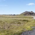 Saxhóll can be seen from the road.- Saxhóll