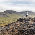 Snæfellsjökull is behind the clouds.- Saxhóll