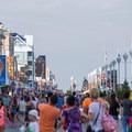 Crowds on the boardwalk.- Ocean City