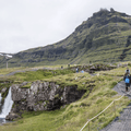 The path leads to the top of the falls.- Kirkjufell and Kirkjufellsfoss