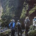 Lining up to navigate further into the mountain.- Rauðfeldsgjá Gorge