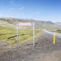 Road sign on Útnesvegur.- Rauðfeldsgjá Gorge