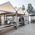 Outdoor seating.- Reykjavík Eco Campsite