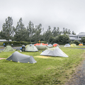 Tents set up behind the hostel.- Reykjavík Eco Campsite