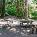 Typical campsite with picnic table and fire ring.- Kiahanie Campground