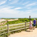 Tourists taking in the views at the lookout.- Gay Head Lighthouse