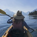 Paddling at Jackson Lake.- Jackson Lake via Colter Bay Marina