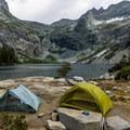 Campsites at Hamilton Lake.- Mineral King Loop: Timber Gap to Sawtooth Gap