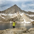 Fly fishing in a trout-filled Columbine Lake.- Mineral King Loop: Timber Gap to Sawtooth Gap