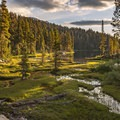 Meadow at sunrise at Middle Big 5 Lakes.- Mineral King Loop: Timber Gap to Sawtooth Gap