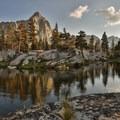 Sunset at Big 5 Lakes.- Mineral King Loop: Timber Gap to Sawtooth Gap