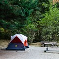All sites provide shade.- Gorge Lake Campground