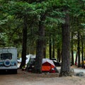 Some smaller RVs can fit in some sites, but the campground is ideal for tents.- Gorge Lake Campground