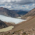 Looking back at Rio Tunel Glaciar Inferior and the climb thus far.- Huemul Circuit