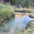 Upper and middle pools of the middle three.- Iva Bell Hot Springs via Fish Creek Trail