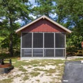 One of the many cabins available for rent.- Cape Henlopen State Park Campground