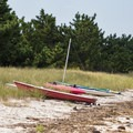 Watercraft along the shore left by earlier visitors.- Slaughter Beach
