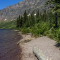 The shore of Upper Two Medicine Lake.- Upper Two Medicine Lake Campground