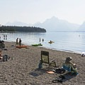Haze from wildfires can make the views less crisp than normal.- Jackson Lake Swim Beach