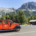 One of the restored Glacier Park vintage tour vehicles.- Sun Point