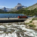 Swiftcurrent Falls and a classic Glacier tour car.- Swiftcurrent Lake Loop Hike