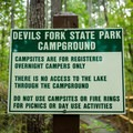 Campsite rules.- Devils Fork State Park Campground
