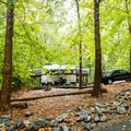 One of the RV sites at Devils Fork State Park Campground.- Devils Fork State Park Campground