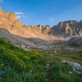 Evening light catching the north side of Shoshoni Peak.- Pawnee and Buchanan Pass Loop