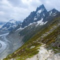 The trail down to Mer de Glace used by climbers.- Grand Balcon Nord
