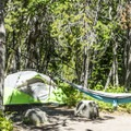 Typical tent site.- Many Glacier Campground