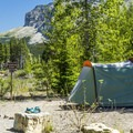 Tent camping at Many Glacier Campground.- Many Glacier Campground