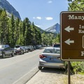 Parking is at a premium in Many Glacier.- Many Glacier Campground