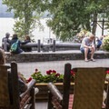 The back deck is a nice spot to watch the lake.- Lake McDonald Lodge