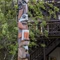 Totem pole at Lake McDonald Lodge.- Lake McDonald Lodge