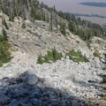 Looking back down at the large boulder field you'll need to scramble up through.- Delta Lake