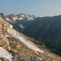 Sunrise on the North Fork Bridge Creek drainage.- Mount Goode: Northeast Buttress