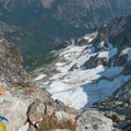 Looking down on the North Fork of Bridge Creek.- Mount Goode: Northeast Buttress