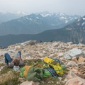 Rehydrating on the descent. - Mount Goode: Northeast Buttress