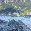 Dramatic exposure on solid rock high on the Northeast Buttress.- Mount Goode: Northeast Buttress