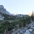A great view of a waterfall draining from the mountains before you wind up and around Paintbrush Canyon.- Paintbrush Canyon to Cascade Canyon Loop